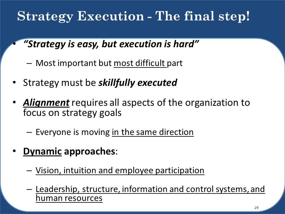 Strategy Execution - The final step!