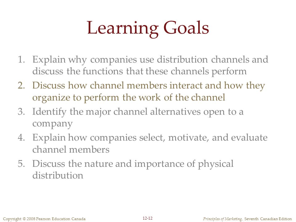 Learning Goals Explain why companies use distribution channels and discuss the functions that these channels perform.