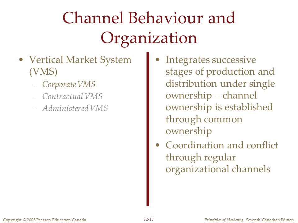 Channel Behaviour and Organization