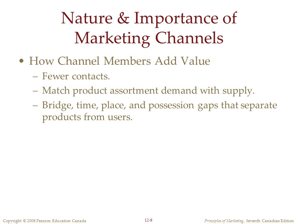 Nature & Importance of Marketing Channels