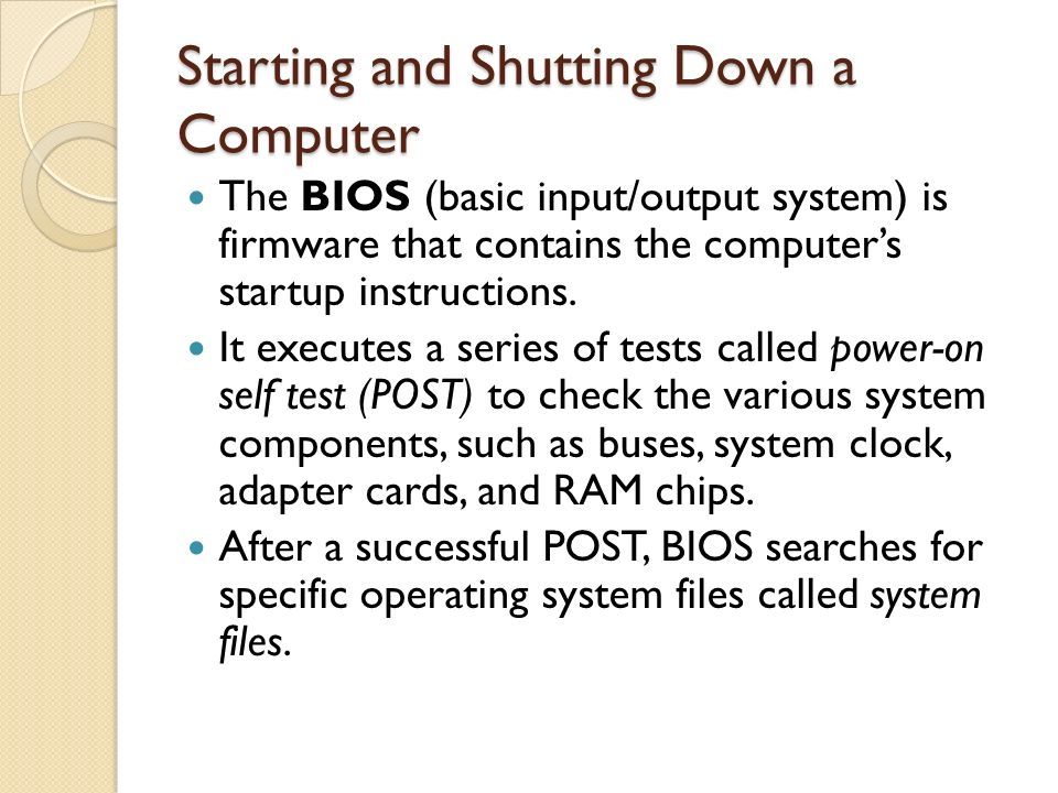 Starting and Shutting Down a Computer