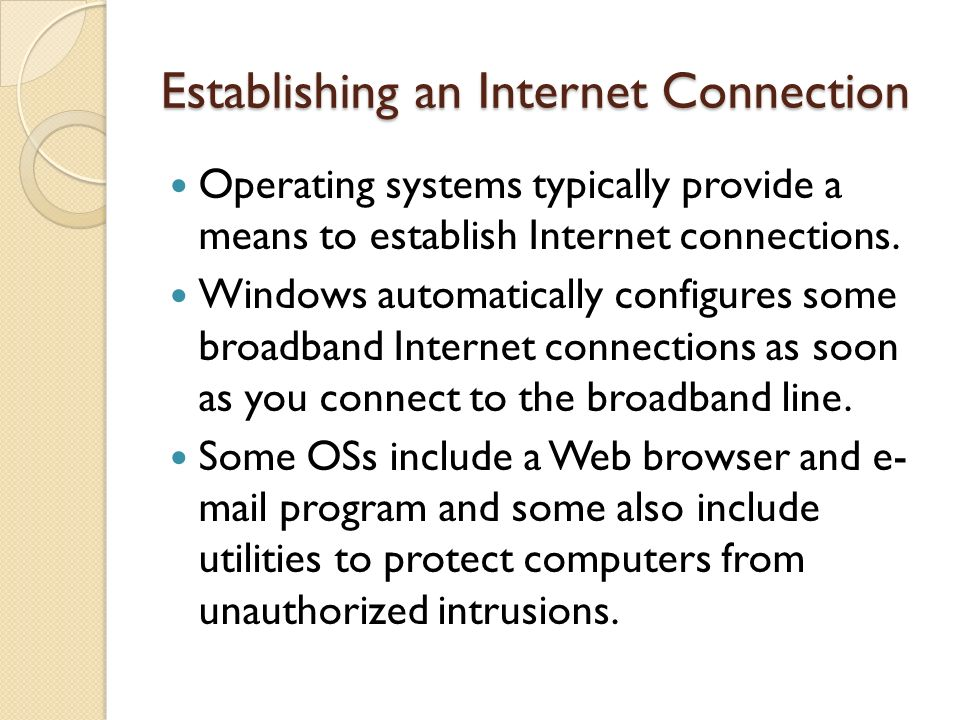 Establishing an Internet Connection