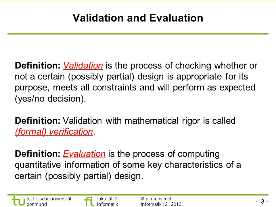 Validation and Evaluation