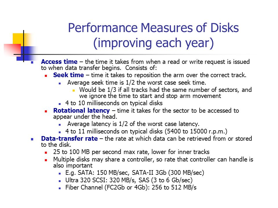 Performance Measures of Disks (improving each year)