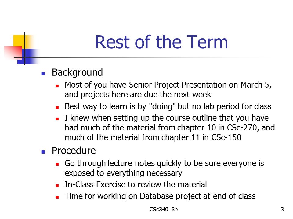 Rest of the Term Background Procedure