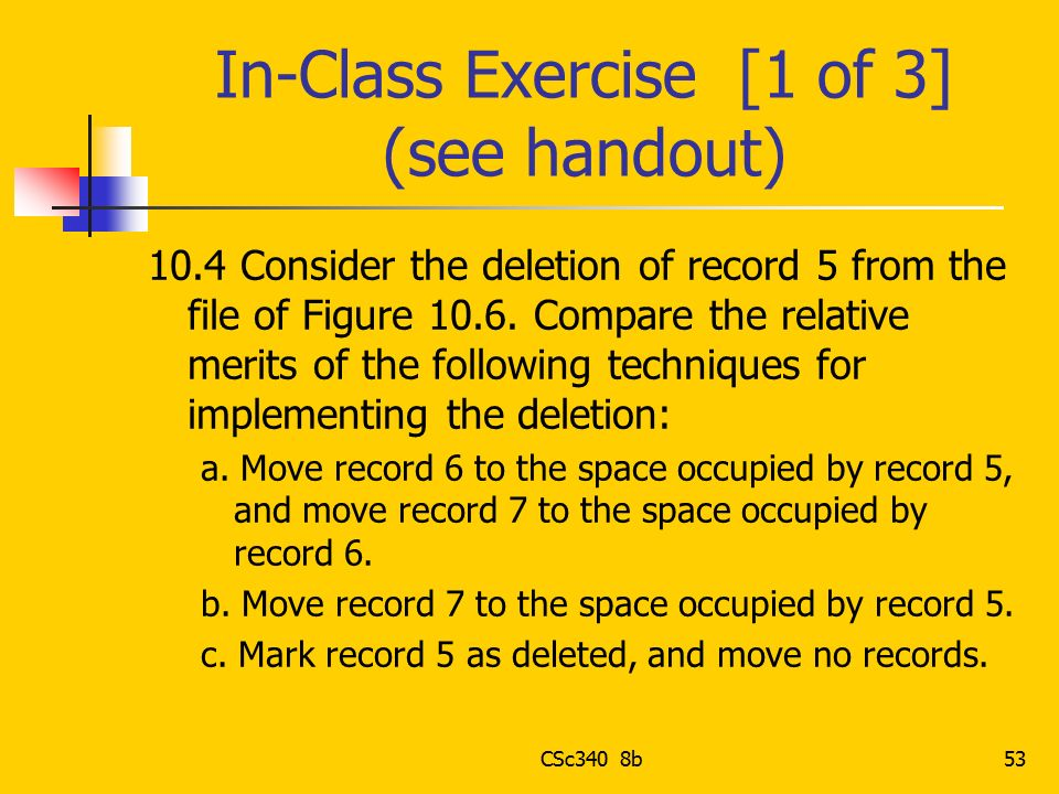 In-Class Exercise [1 of 3] (see handout)