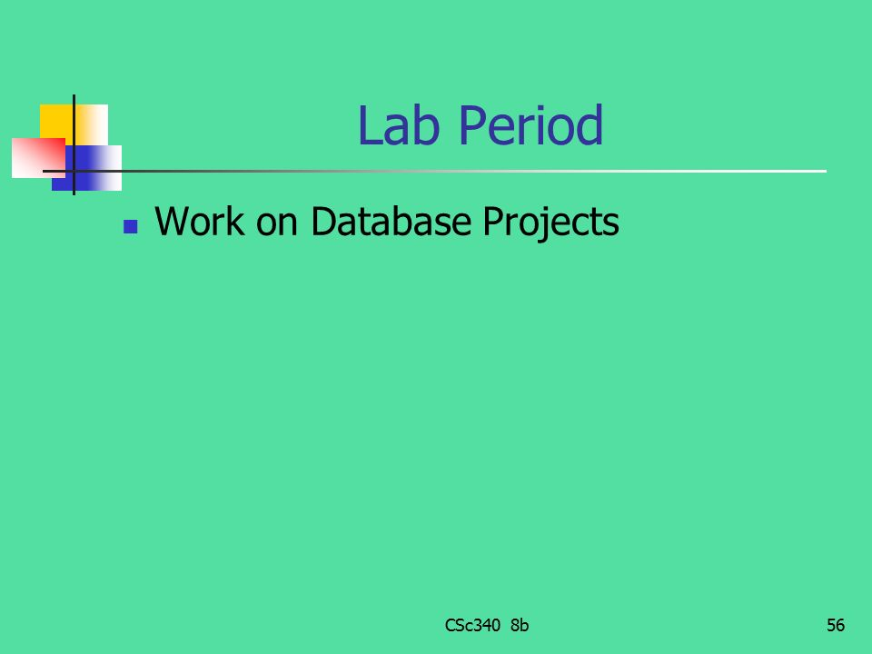 Lab Period Work on Database Projects CSc340 8b