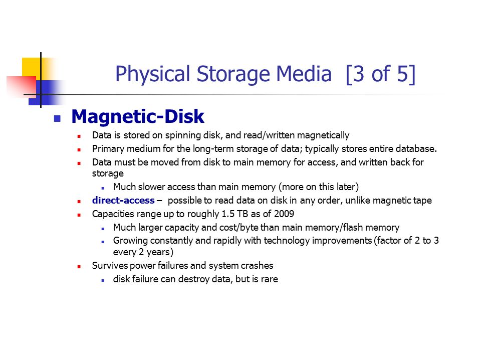 Physical Storage Media [3 of 5]