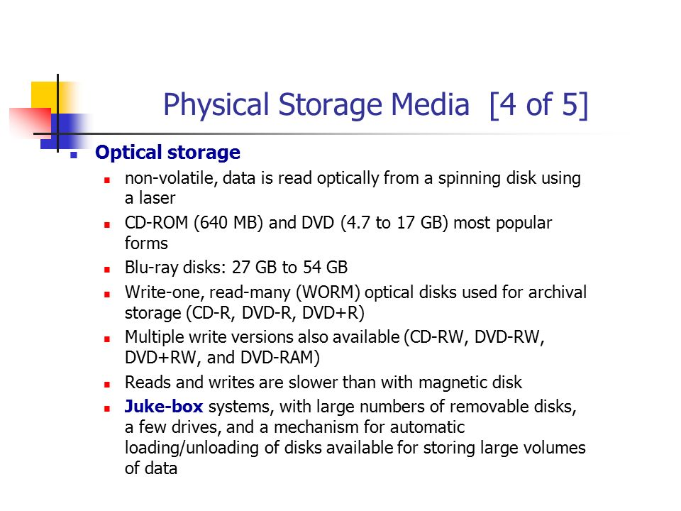 Physical Storage Media [4 of 5]