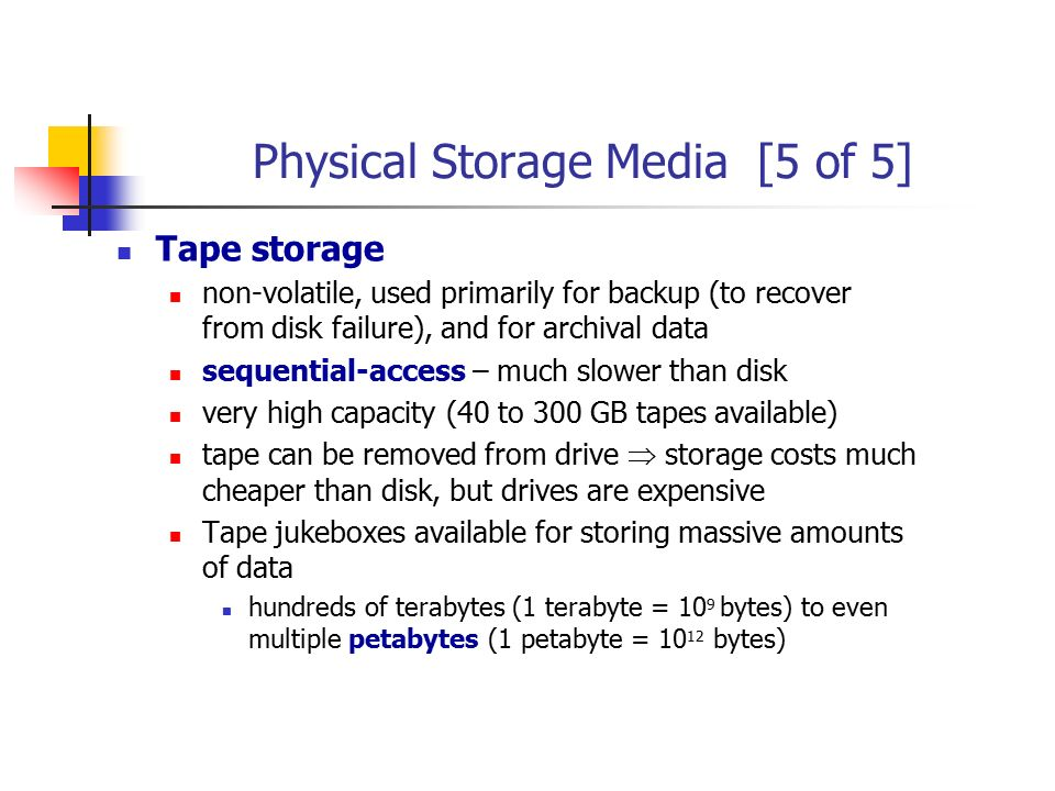 Physical Storage Media [5 of 5]