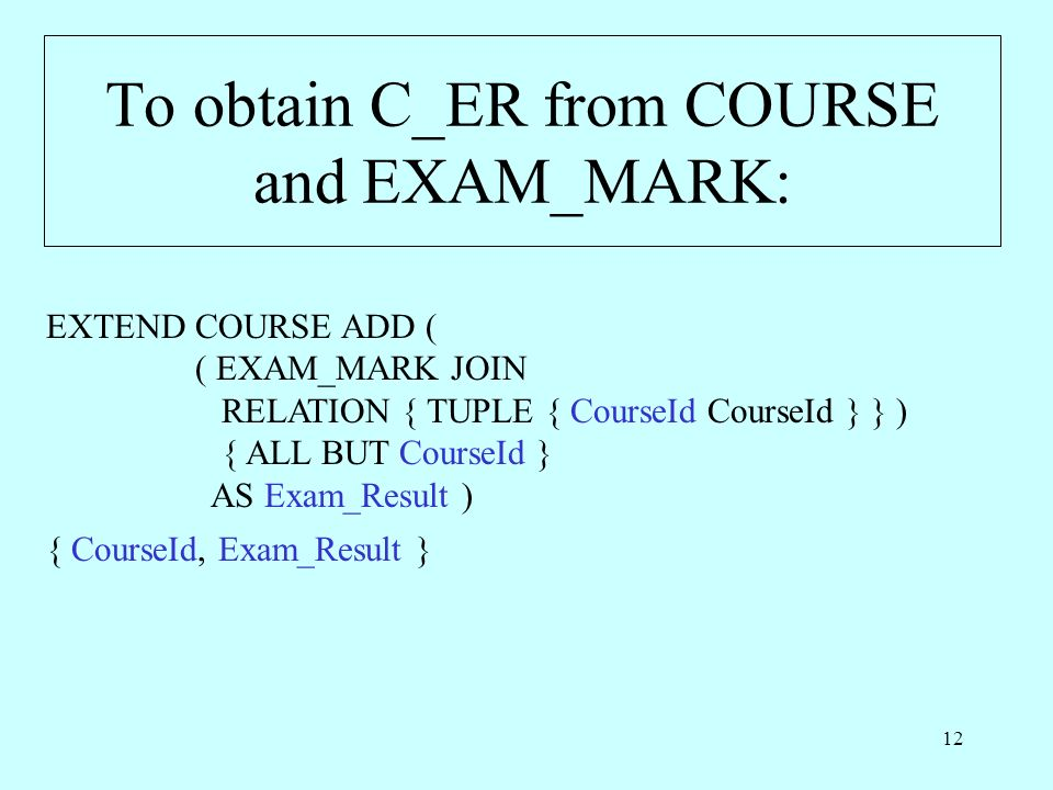 To obtain C_ER from COURSE and EXAM_MARK: