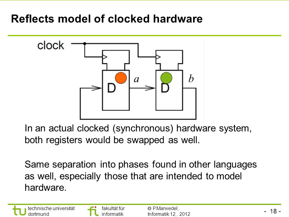 Reflects model of clocked hardware