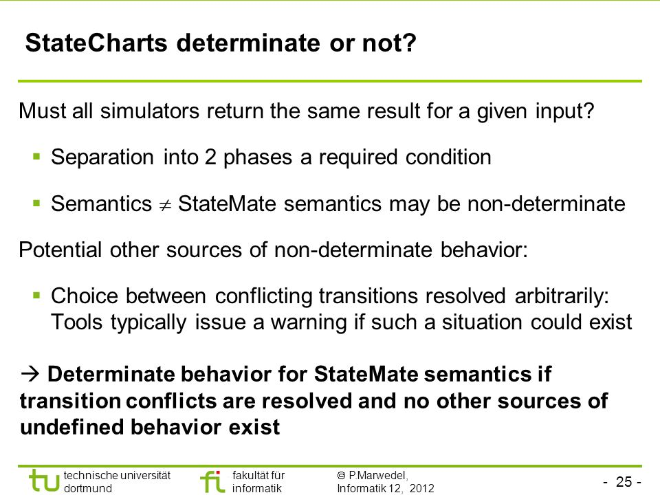 StateCharts determinate or not