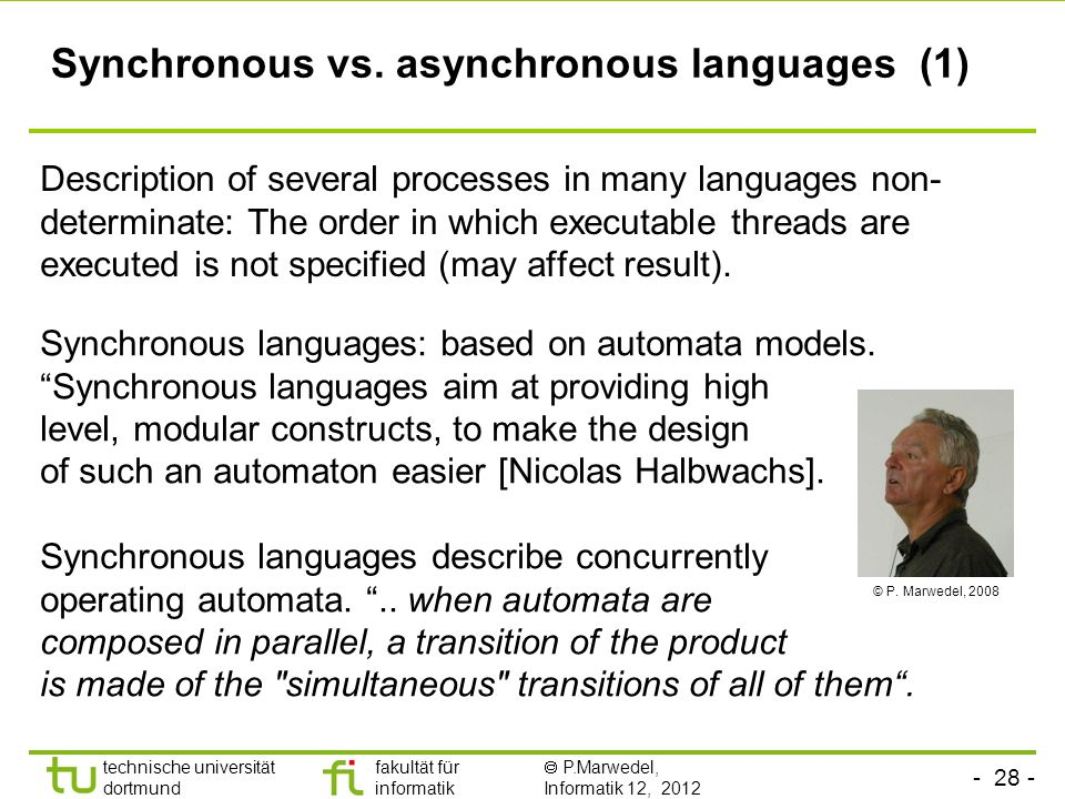 Synchronous vs. asynchronous languages (1)