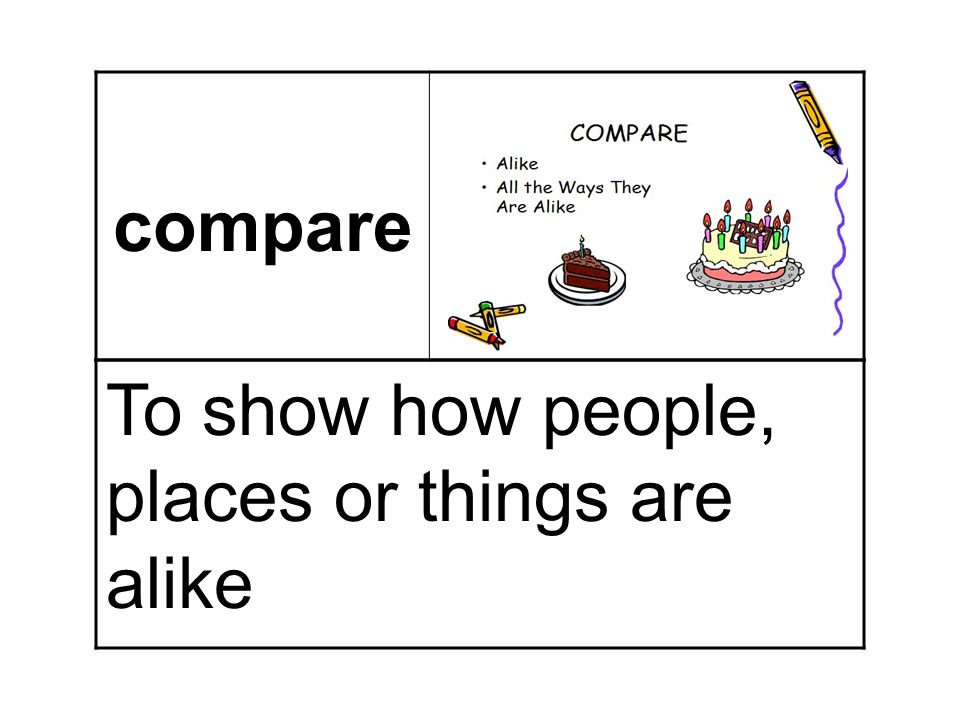 compare To show how people, places or things are alike
