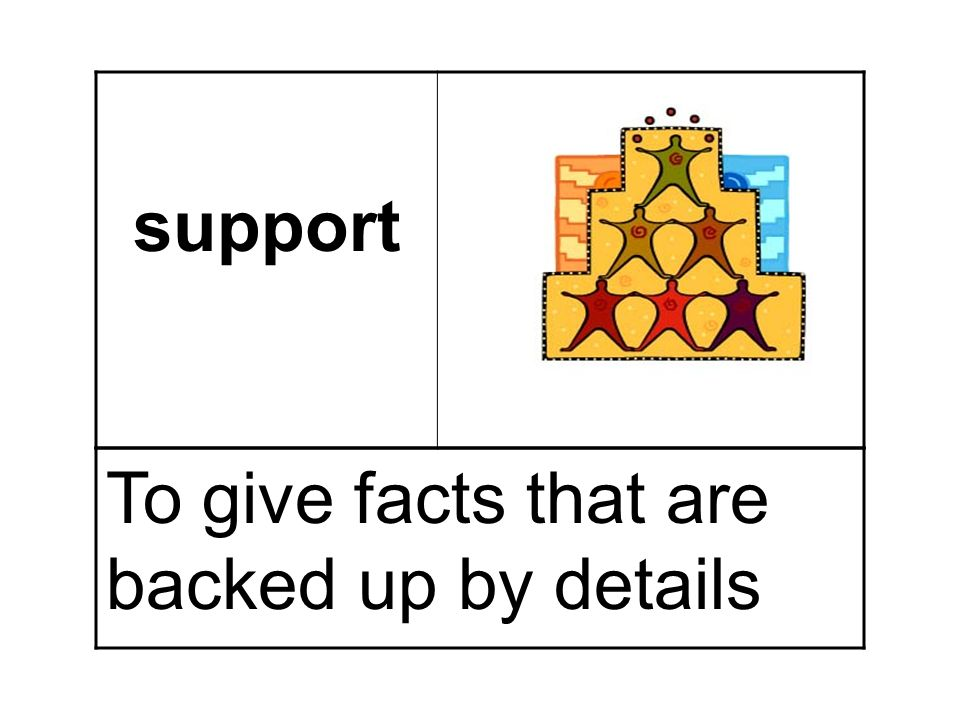 support To give facts that are backed up by details
