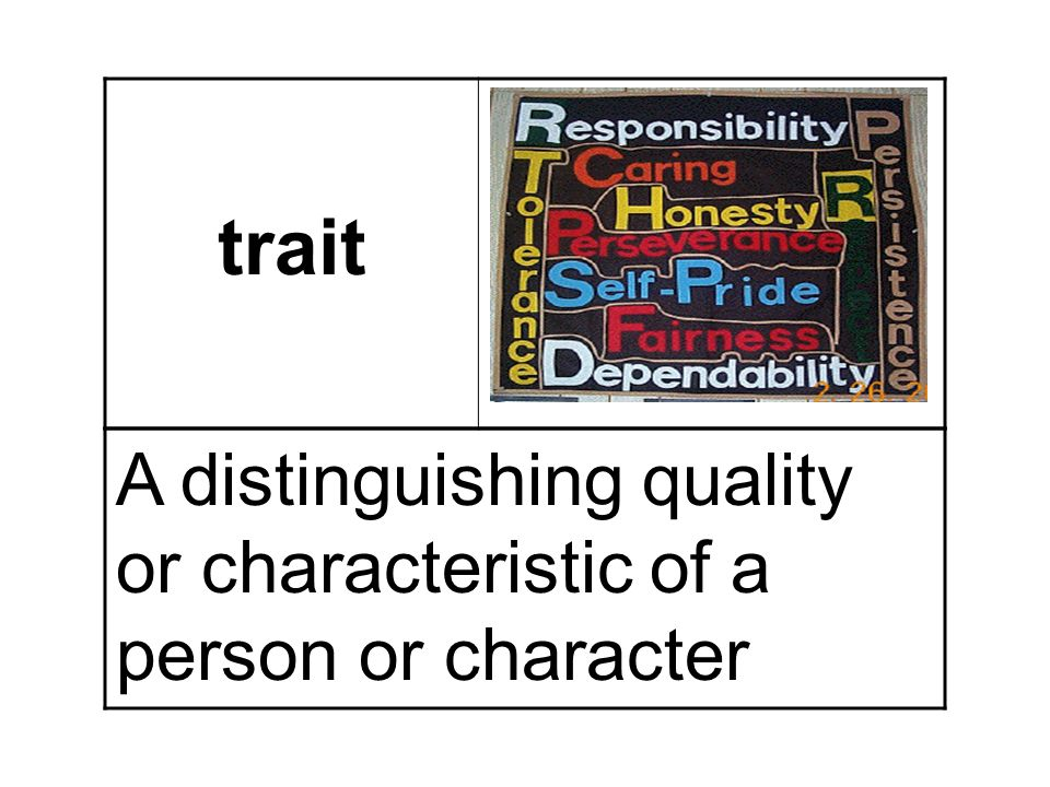trait A distinguishing quality or characteristic of a person or character