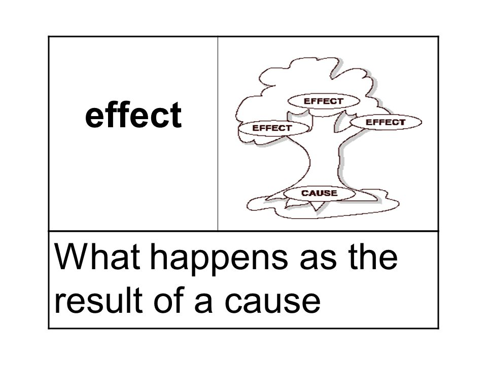 effect What happens as the result of a cause