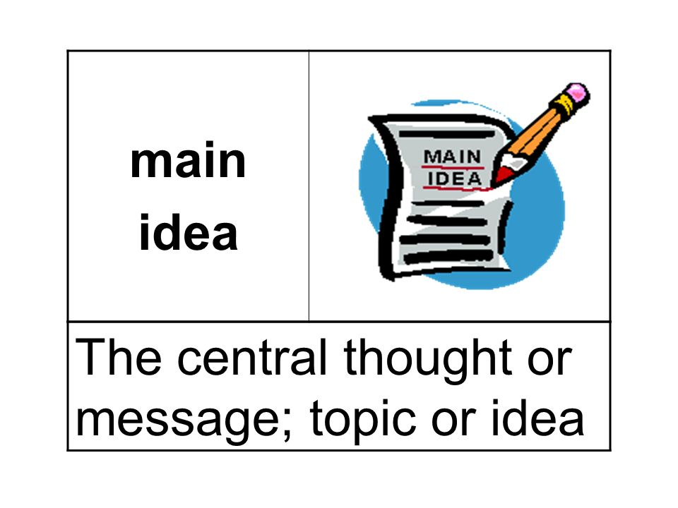 main idea The central thought or message; topic or idea