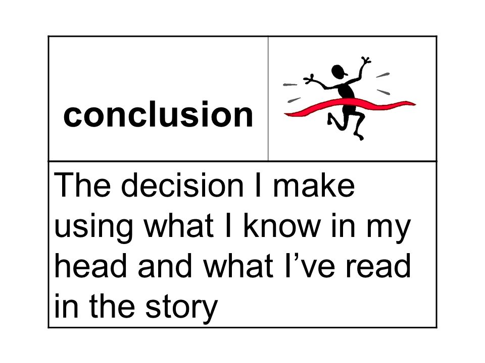 conclusion The decision I make using what I know in my head and what I've read in the story