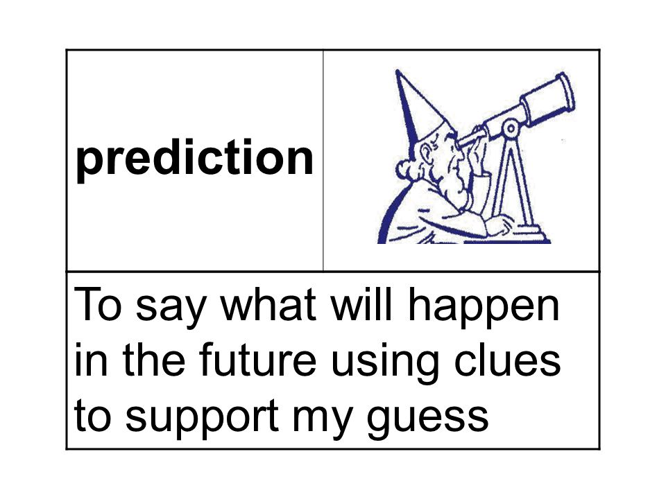 prediction To say what will happen in the future using clues to support my guess