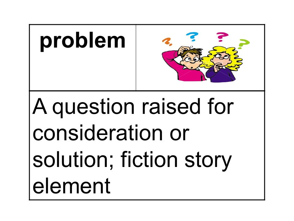 problem A question raised for consideration or solution; fiction story element