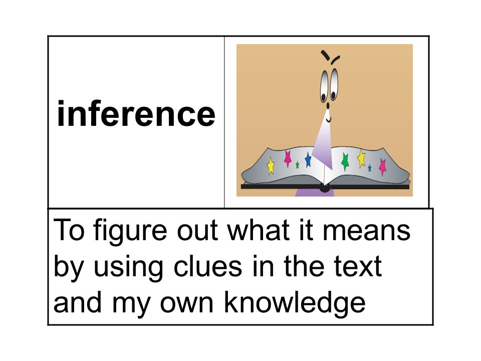 inference To figure out what it means by using clues in the text and my own knowledge