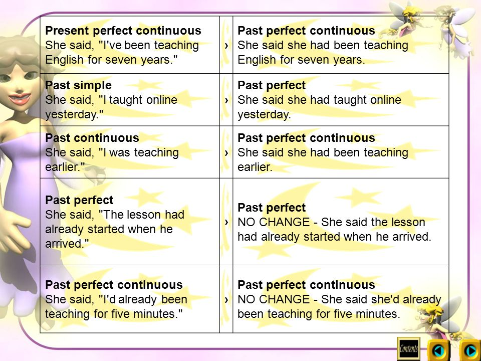 Present perfect continuous She said, I ve been teaching English for seven years.