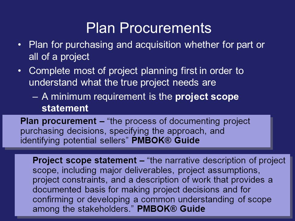 Plan Procurements Plan for purchasing and acquisition whether for part or all of a project.