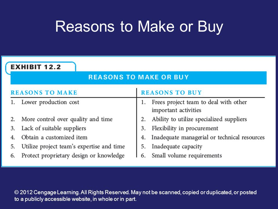Reasons to Make or Buy