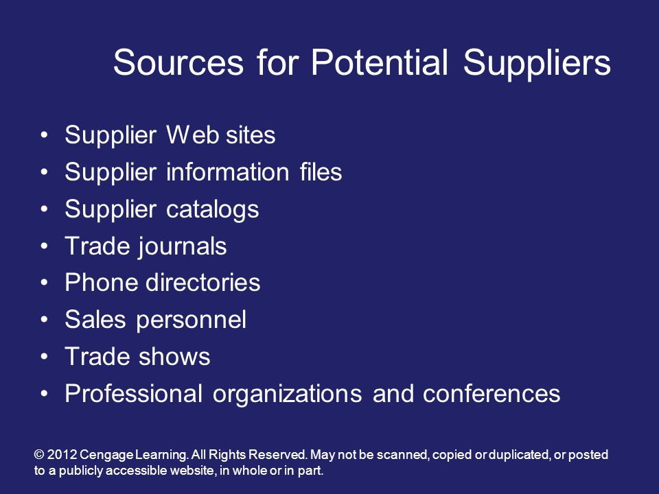 Sources for Potential Suppliers