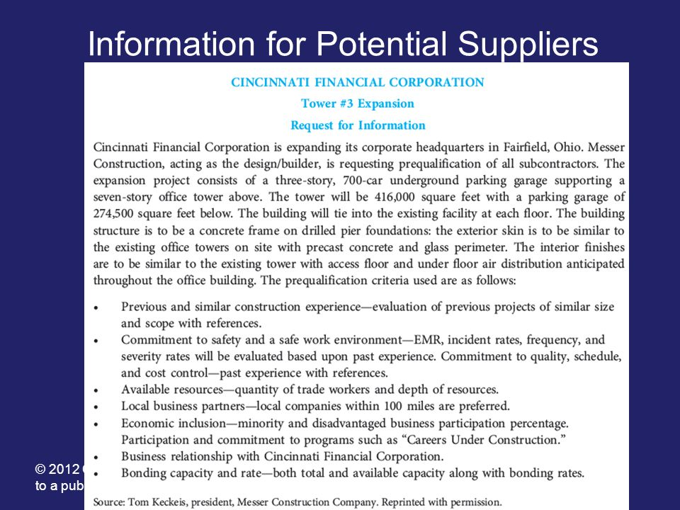 Information for Potential Suppliers