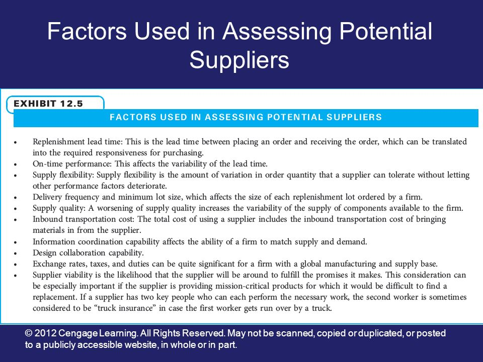 Factors Used in Assessing Potential Suppliers
