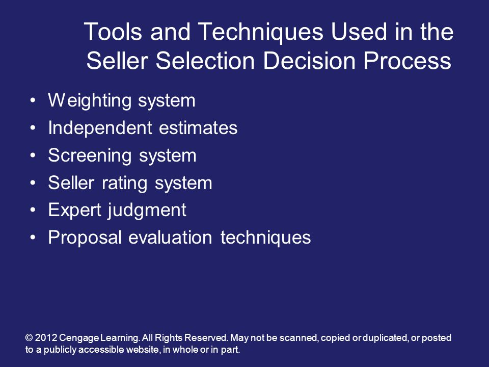 Tools and Techniques Used in the Seller Selection Decision Process