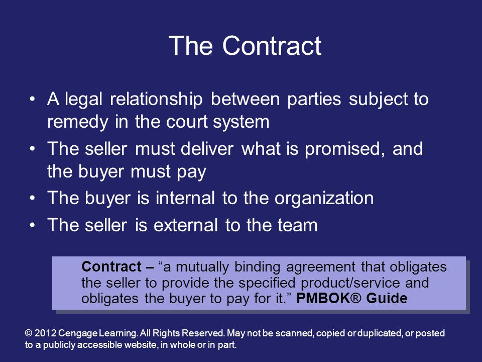 The Contract A legal relationship between parties subject to remedy in the court system.