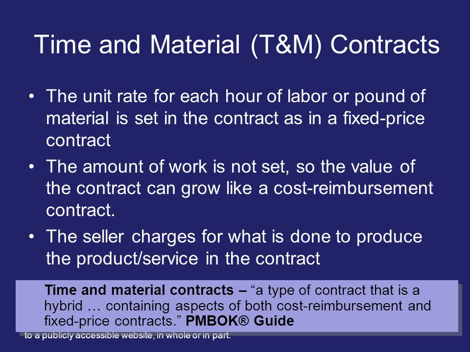 Time and Material (T&M) Contracts