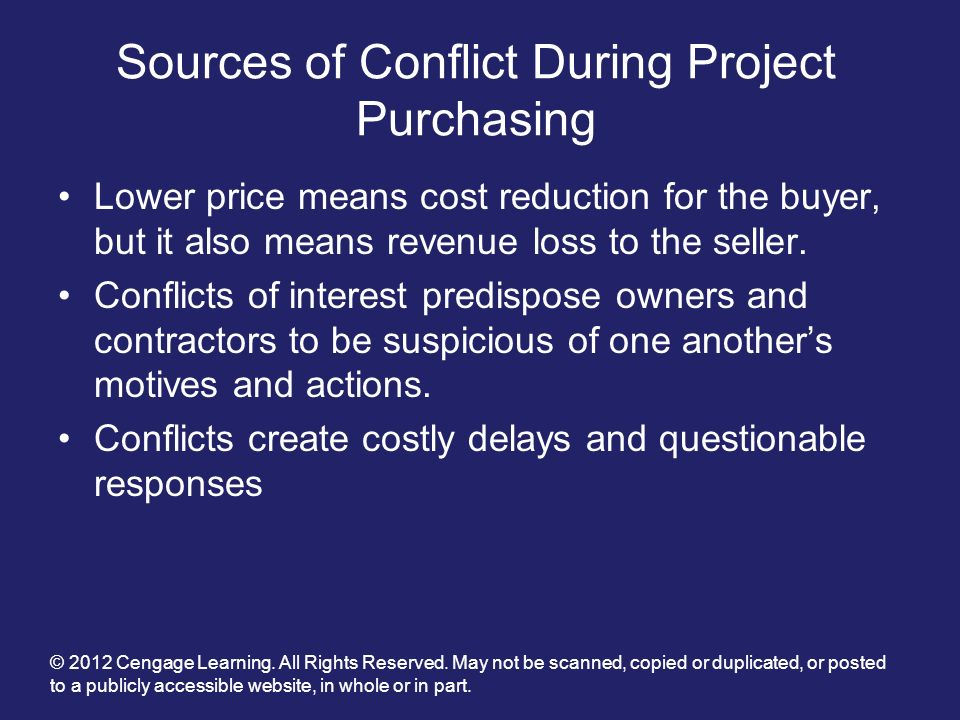 Sources of Conflict During Project Purchasing