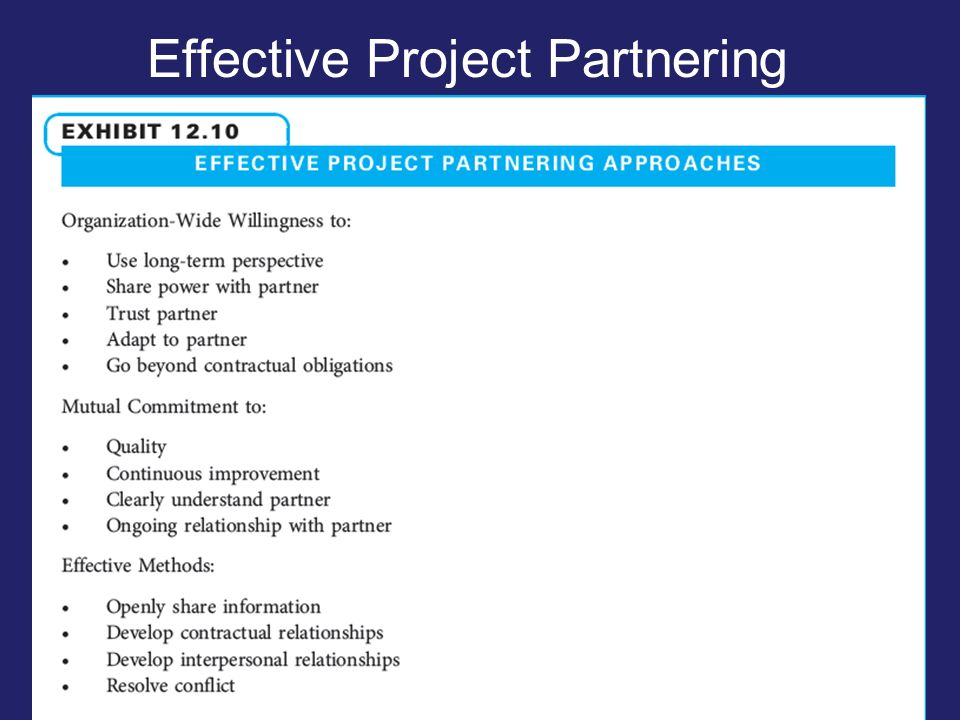 Effective Project Partnering Approaches