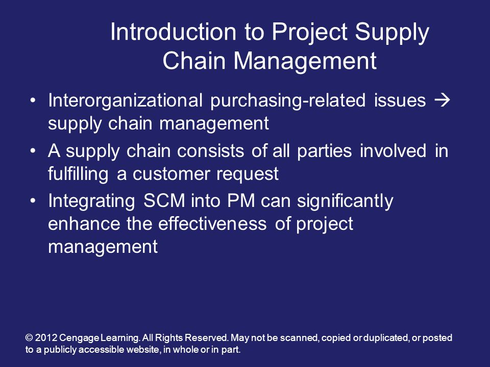 Introduction to Project Supply Chain Management