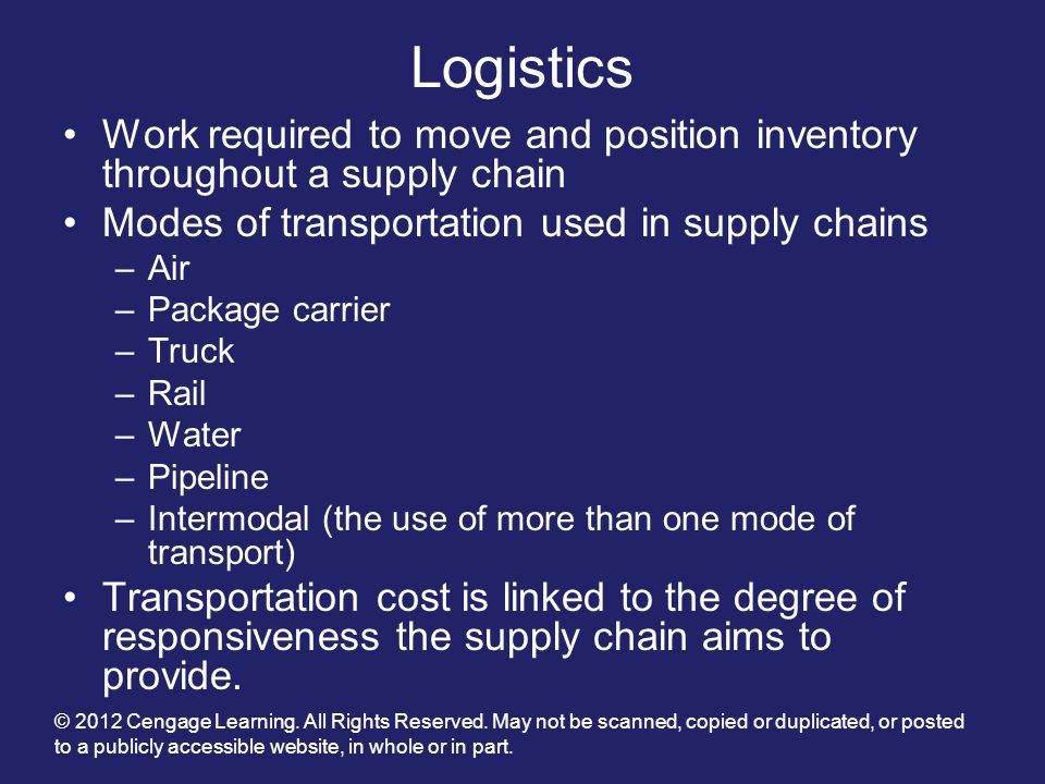 Logistics Work required to move and position inventory throughout a supply chain. Modes of transportation used in supply chains.