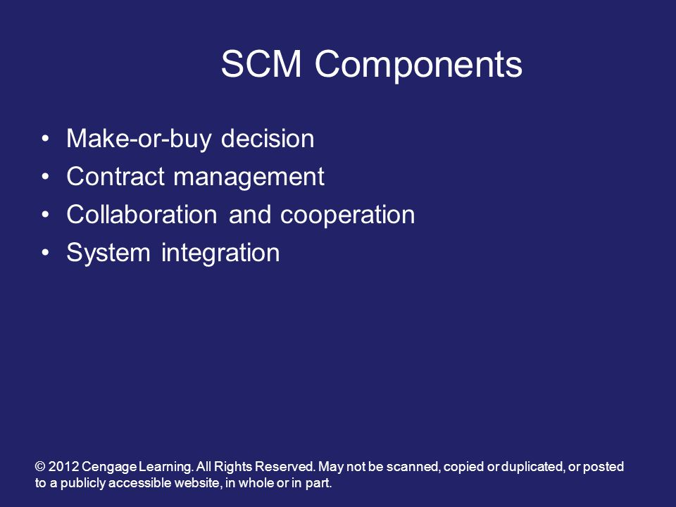 SCM Components Make-or-buy decision Contract management