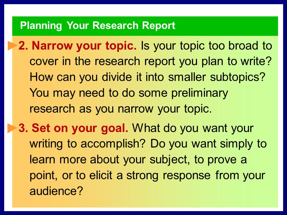 Planning Your Research Report