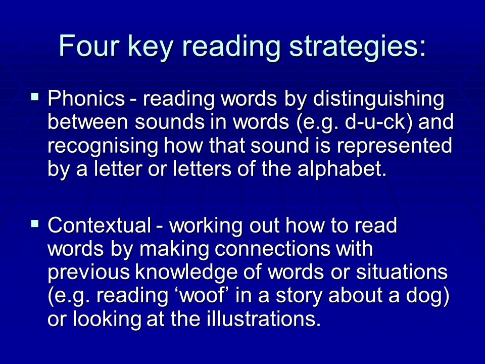 Four key reading strategies: