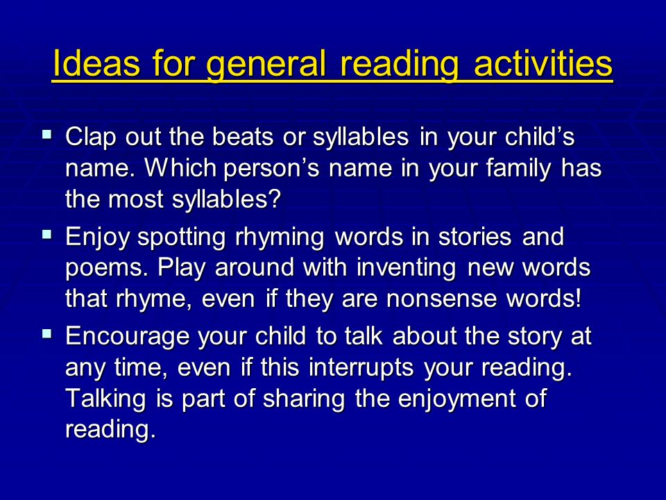 Ideas for general reading activities
