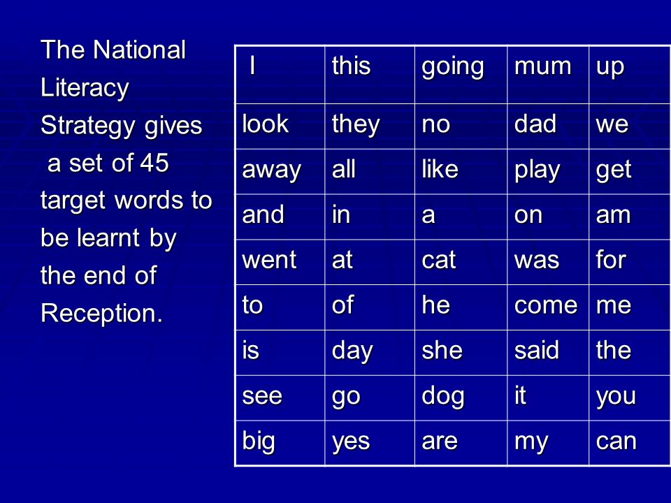 The National Literacy. Strategy gives. a set of 45. target words to. be learnt by. the end of.