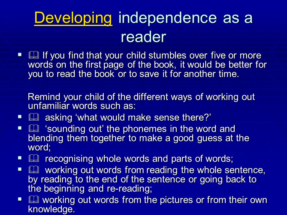 Developing independence as a reader