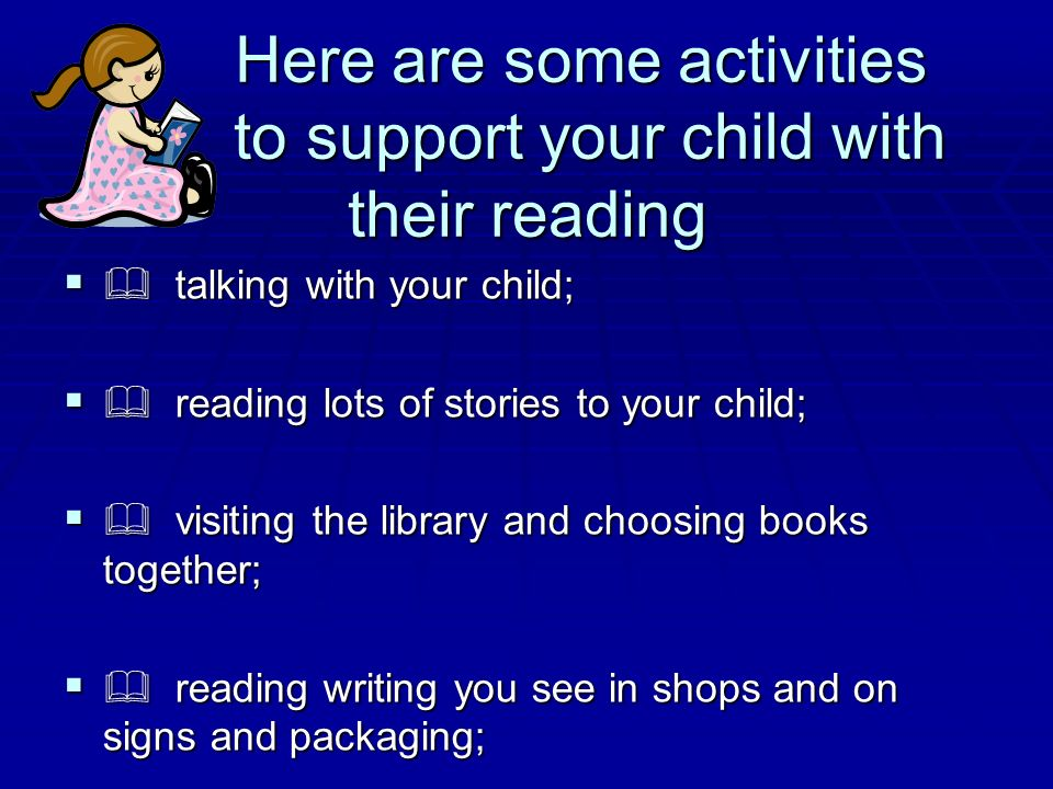 Here are some activities to support your child with their reading