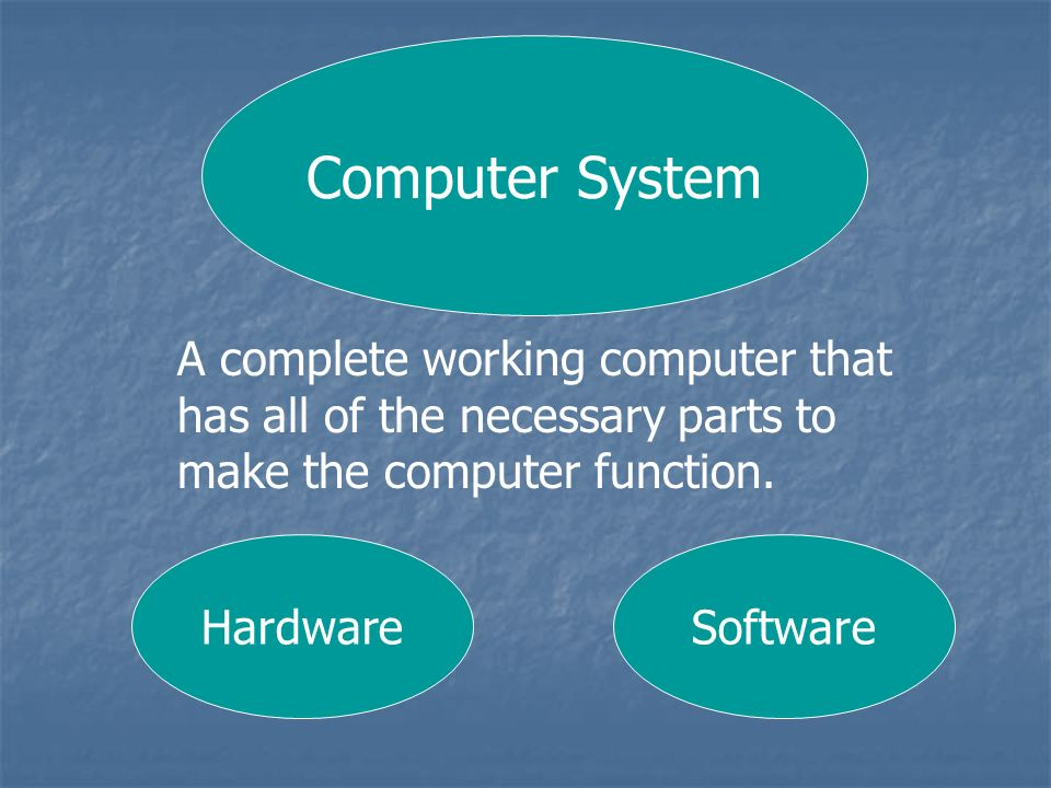 Computer System A complete working computer that has all of the necessary parts to make the computer function.