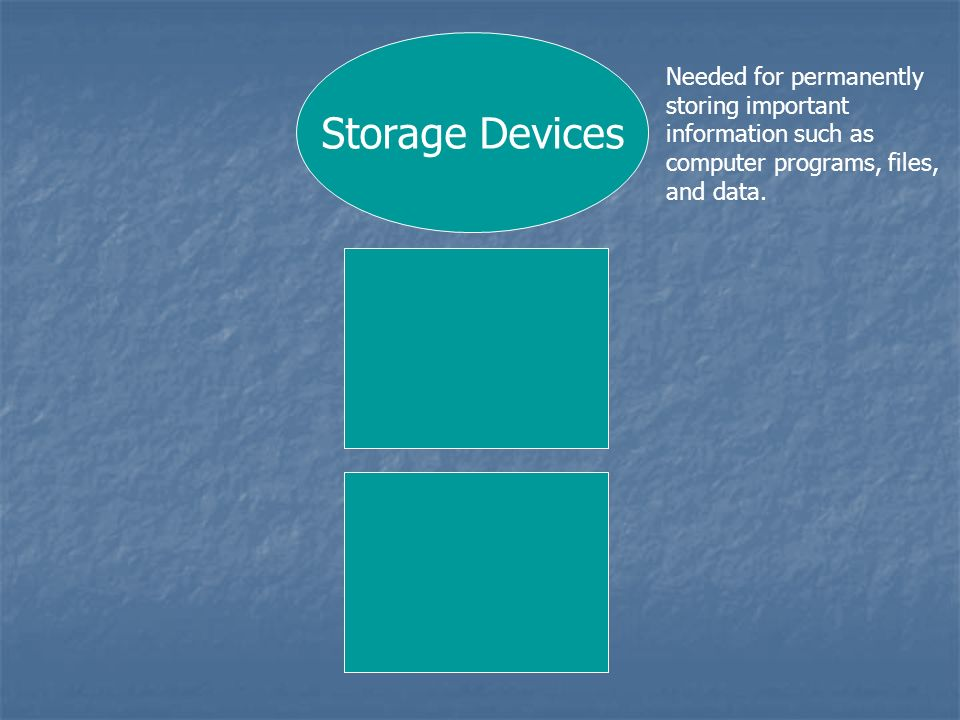 Storage Devices Needed for permanently storing important information such as computer programs, files, and data.