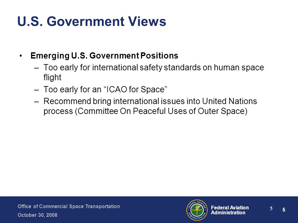 U.S. Government Views Emerging U.S. Government Positions